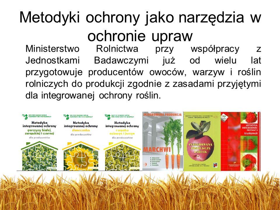 Metodyki ochrony jako narzędzia w ochronie upraw Ministerstwo Rolnictwa przy współpracy z Jednostkami Badawczymi już od wielu lat przygotowuje produce