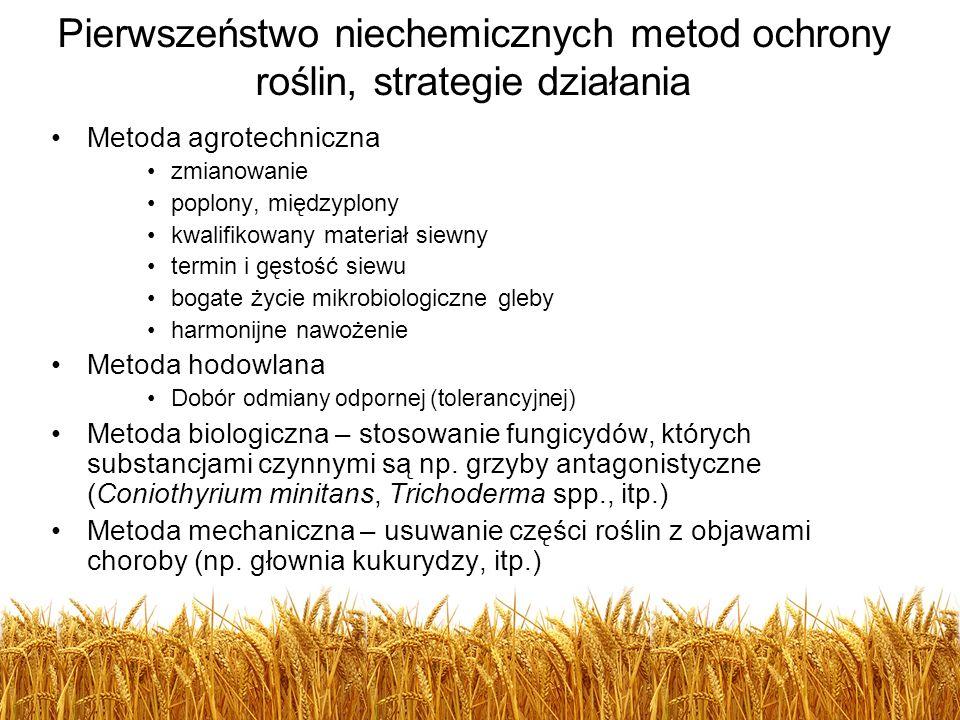 Pierwszeństwo niechemicznych metod ochrony roślin, strategie działania Metoda agrotechniczna zmianowanie poplony, międzyplony kwalifikowany materiał s