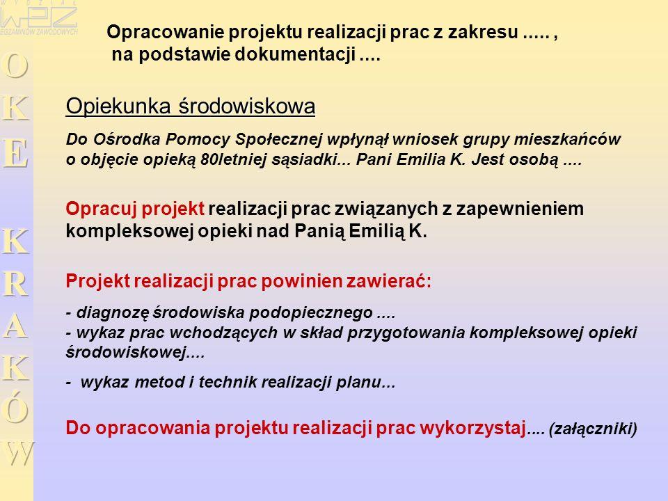 Opracowanie projektu realizacji prac z zakresu....., na podstawie dokumentacji....