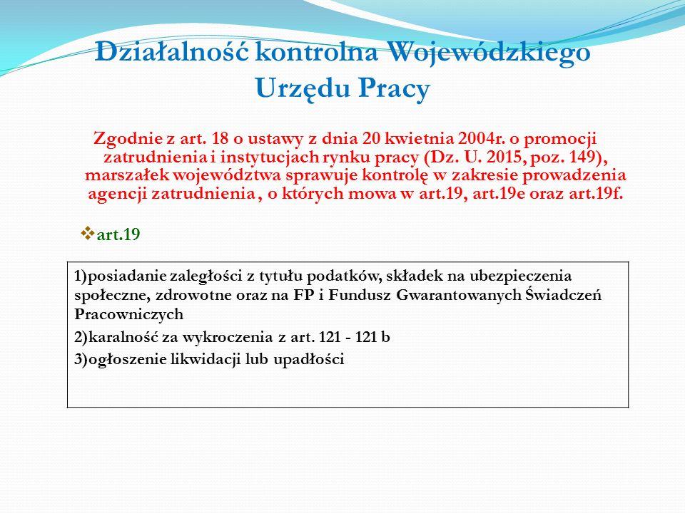 Działalność kontrolna Wojewódzkiego Urzędu Pracy Zgodnie z art.