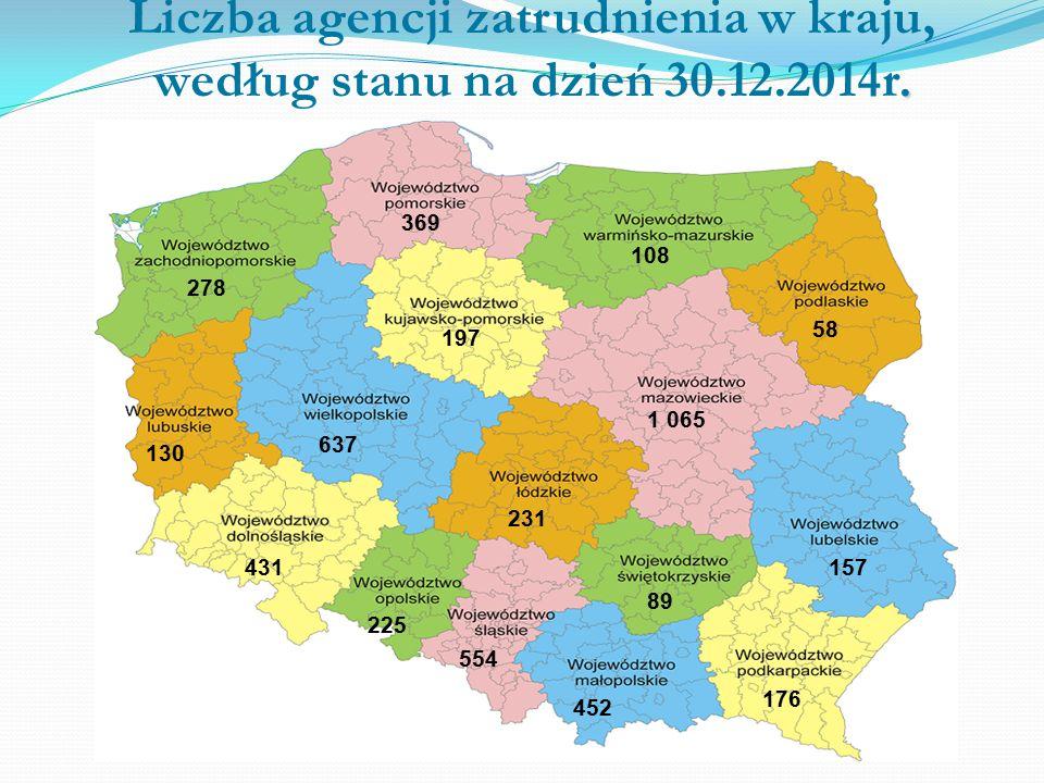 Liczba agencji zatrudnienia w kraju, według stanu na dzień 30.12.2014r.