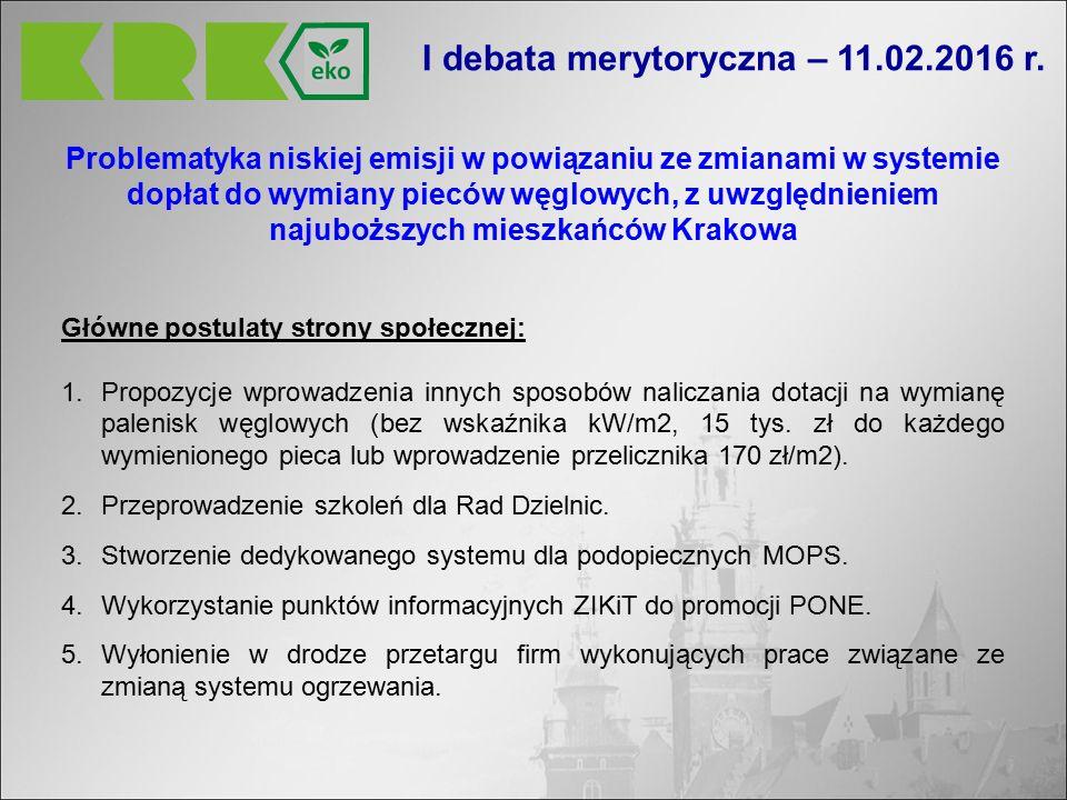 Problematyka niskiej emisji w powiązaniu ze zmianami w systemie dopłat do wymiany pieców węglowych, z uwzględnieniem najuboższych mieszkańców Krakowa Główne postulaty strony społecznej: 1.Propozycje wprowadzenia innych sposobów naliczania dotacji na wymianę palenisk węglowych (bez wskaźnika kW/m2, 15 tys.
