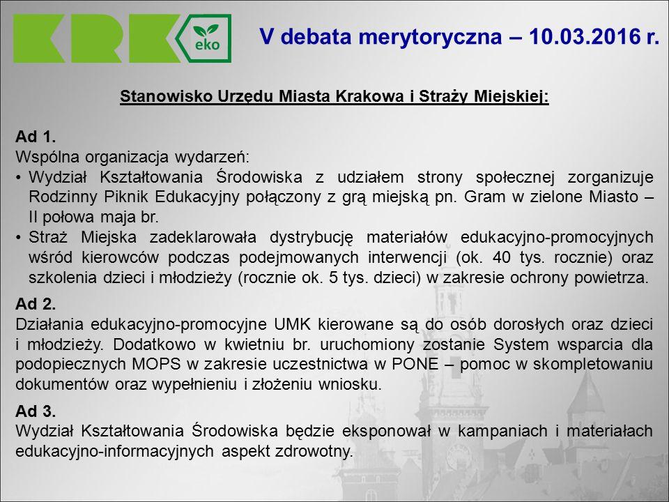 Stanowisko Urzędu Miasta Krakowa i Straży Miejskiej: Ad 1.