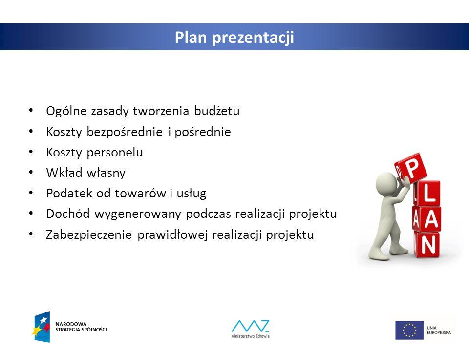 2 Plan prezentacji Ogólne zasady tworzenia budżetu Koszty bezpośrednie i pośrednie Koszty personelu Wkład własny Podatek od towarów i usług Dochód wygenerowany podczas realizacji projektu Zabezpieczenie prawidłowej realizacji projektu