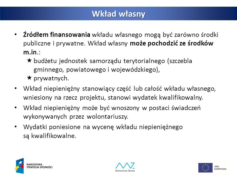 26 Wkład własny Źródłem finansowania wkładu własnego mogą być zarówno środki publiczne i prywatne.
