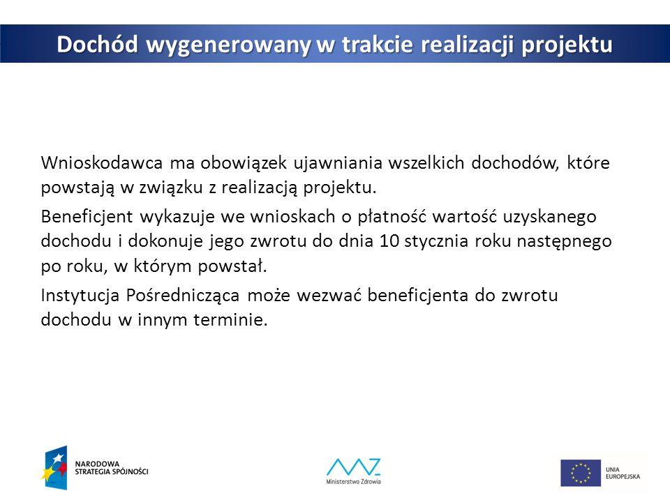 28 Dochód wygenerowany w trakcie realizacji projektu Wnioskodawca ma obowiązek ujawniania wszelkich dochodów, które powstają w związku z realizacją projektu.
