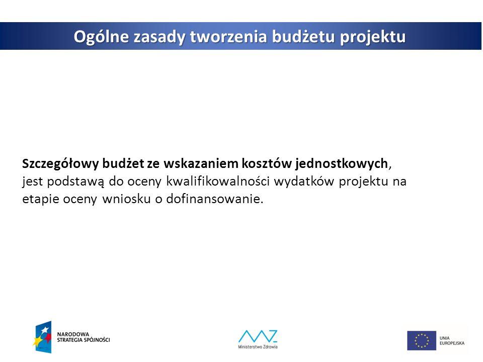 4 Ogólne zasady tworzenia budżetu projektu Szczegółowy budżet ze wskazaniem kosztów jednostkowych, jest podstawą do oceny kwalifikowalności wydatków projektu na etapie oceny wniosku o dofinansowanie.