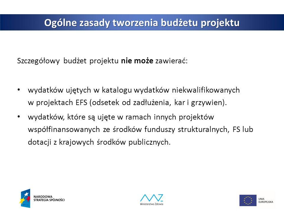 5 Ogólne zasady tworzenia budżetu projektu Szczegółowy budżet projektu nie może zawierać: wydatków ujętych w katalogu wydatków niekwalifikowanych w projektach EFS (odsetek od zadłużenia, kar i grzywien).