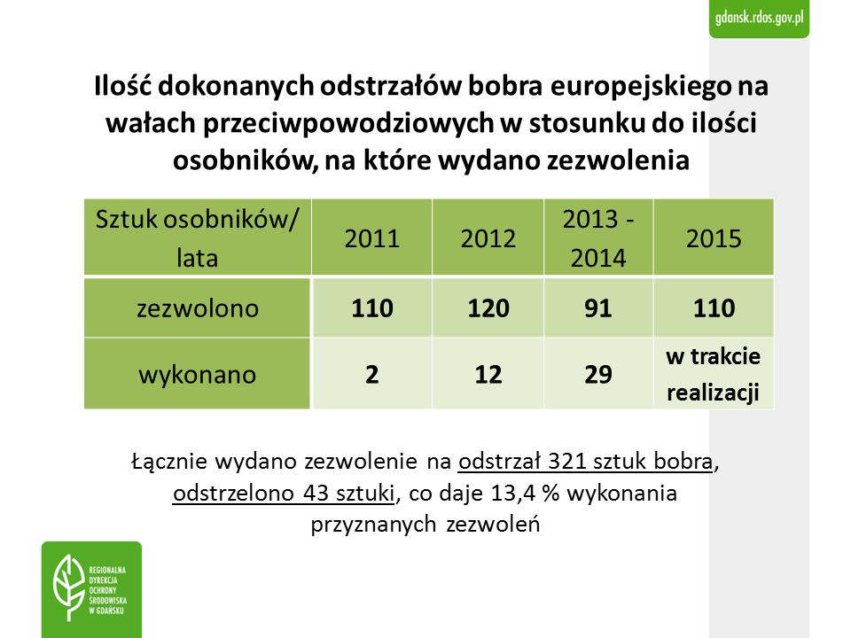 Ilość dokonanych odstrzałów bobra europejskiego na wałach przeciwpowodziowych w stosunku do ilości osobników, na które wydano zezwolenia Sztuk osobników/ lata 20112012 2013 - 2014 2015 zezwolono11012091110 wykonano21229 w trakcie realizacji Łącznie wydano zezwolenie na odstrzał 321 sztuk bobra, odstrzelono 43 sztuki, co daje 13,4 % wykonania przyznanych zezwoleń