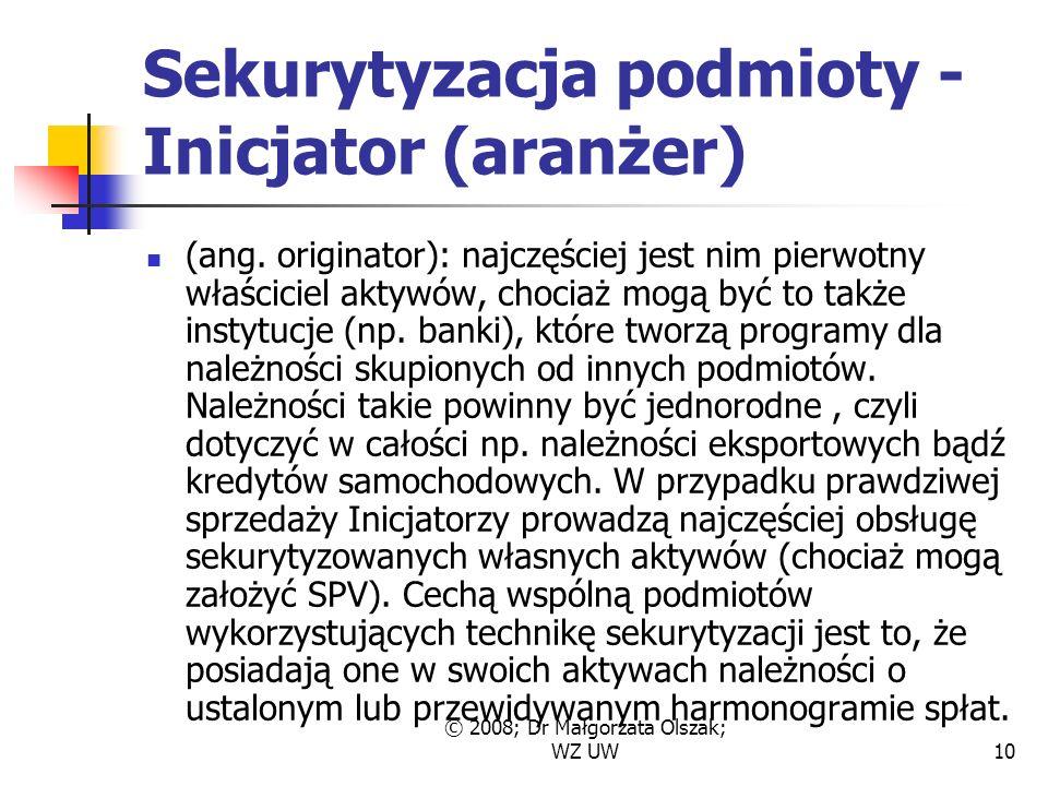 © 2008; Dr Małgorzata Olszak; WZ UW10 Sekurytyzacja podmioty - Inicjator (aranżer) (ang.
