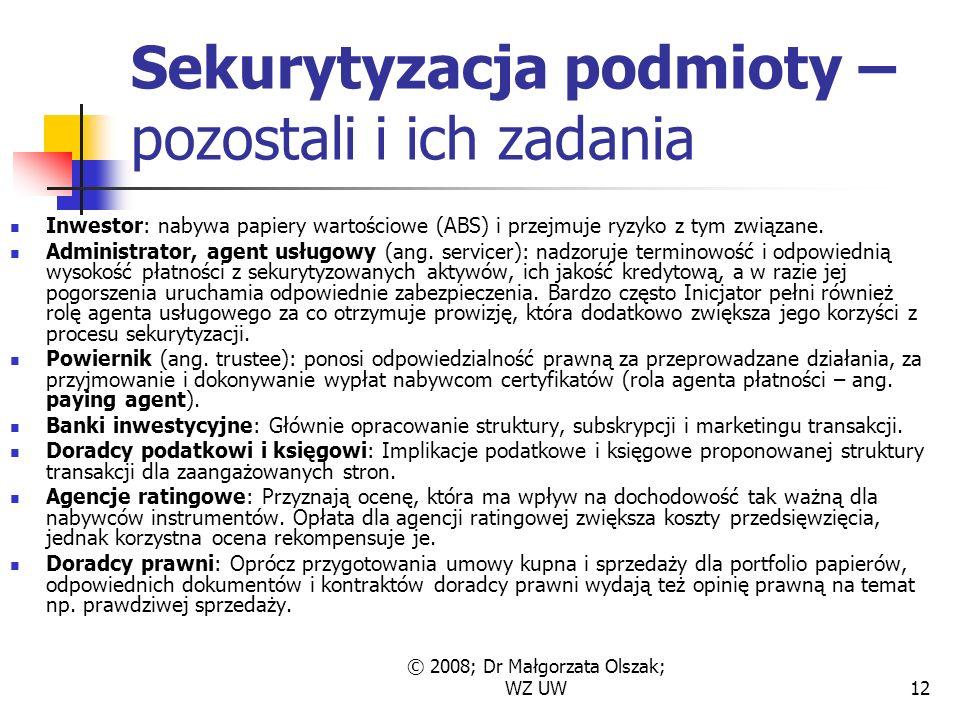 © 2008; Dr Małgorzata Olszak; WZ UW12 Sekurytyzacja podmioty – pozostali i ich zadania Inwestor: nabywa papiery wartościowe (ABS) i przejmuje ryzyko z tym związane.