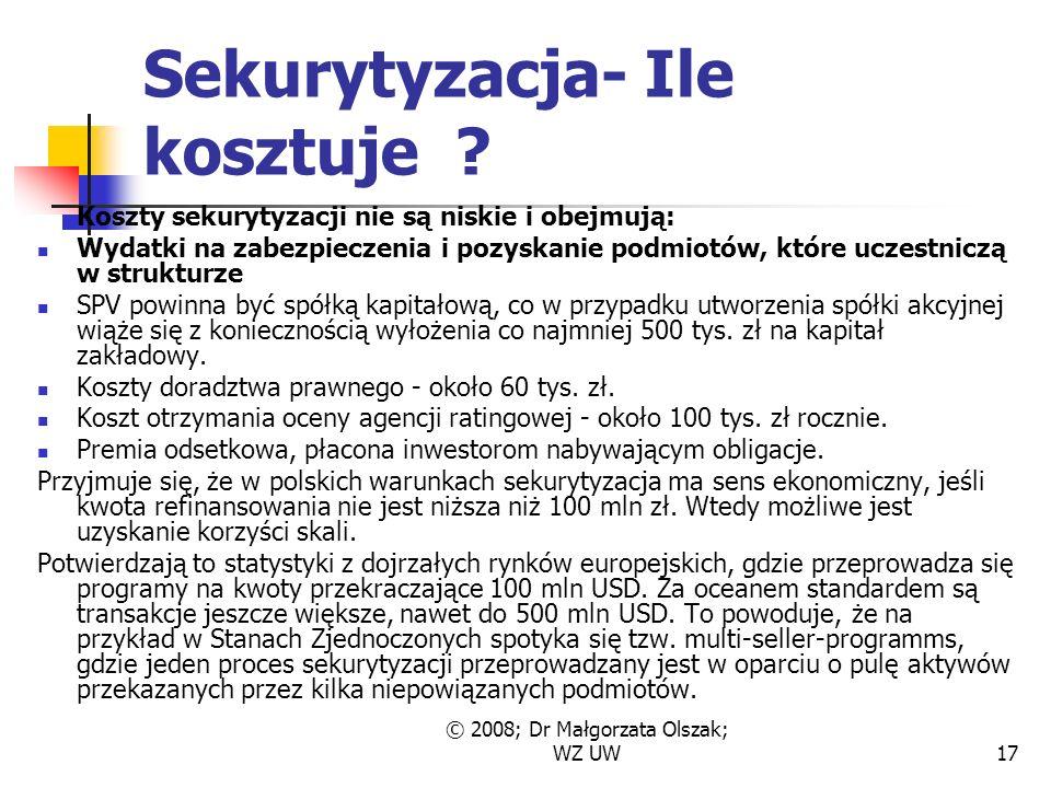 © 2008; Dr Małgorzata Olszak; WZ UW17 Sekurytyzacja- Ile kosztuje .