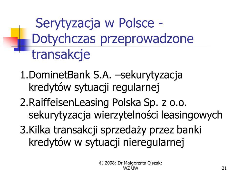 © 2008; Dr Małgorzata Olszak; WZ UW21 Serytyzacja w Polsce - Dotychczas przeprowadzone transakcje 1.DominetBank S.A.