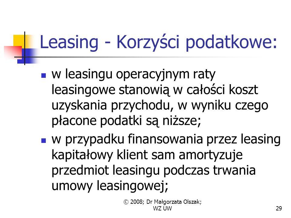 © 2008; Dr Małgorzata Olszak; WZ UW29 Leasing - Korzyści podatkowe: w leasingu operacyjnym raty leasingowe stanowią w całości koszt uzyskania przychodu, w wyniku czego płacone podatki są niższe; w przypadku finansowania przez leasing kapitałowy klient sam amortyzuje przedmiot leasingu podczas trwania umowy leasingowej;