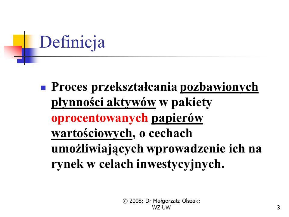© 2008; Dr Małgorzata Olszak; WZ UW3 Definicja Proces przekształcania pozbawionych płynności aktywów w pakiety oprocentowanych papierów wartościowych, o cechach umożliwiających wprowadzenie ich na rynek w celach inwestycyjnych.