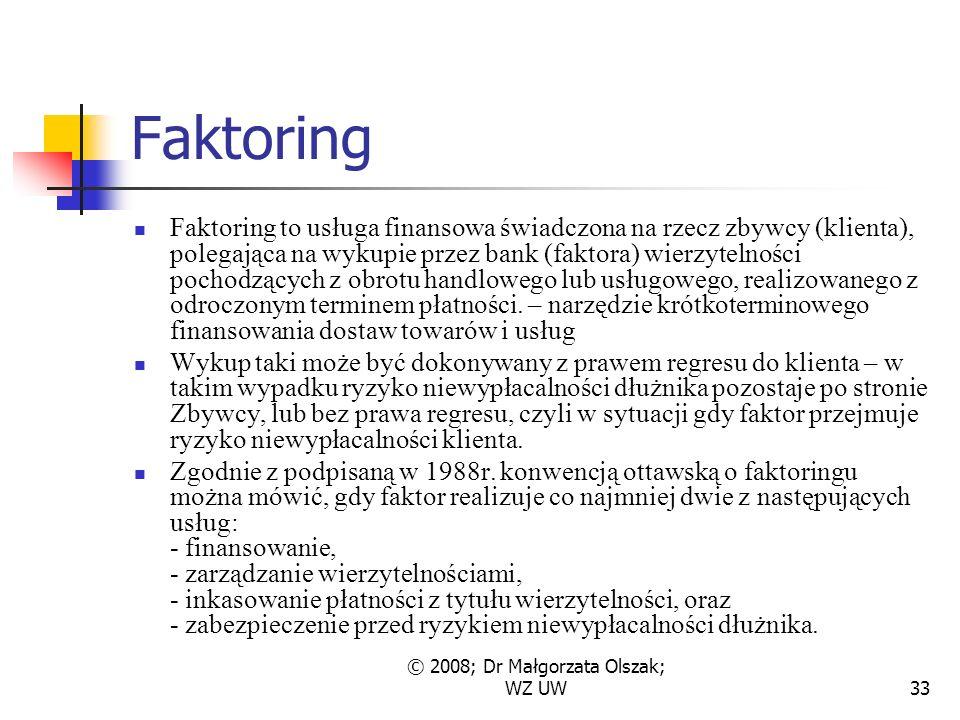 © 2008; Dr Małgorzata Olszak; WZ UW33 Faktoring Faktoring to usługa finansowa świadczona na rzecz zbywcy (klienta), polegająca na wykupie przez bank (faktora) wierzytelności pochodzących z obrotu handlowego lub usługowego, realizowanego z odroczonym terminem płatności.