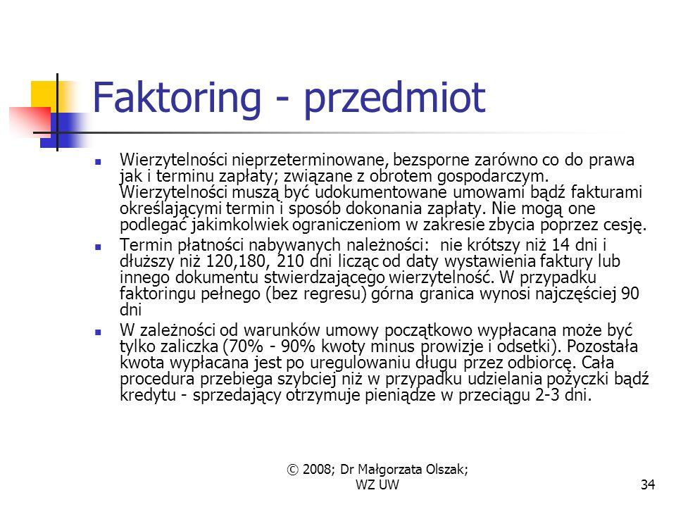 © 2008; Dr Małgorzata Olszak; WZ UW34 Faktoring - przedmiot Wierzytelności nieprzeterminowane, bezsporne zarówno co do prawa jak i terminu zapłaty; związane z obrotem gospodarczym.