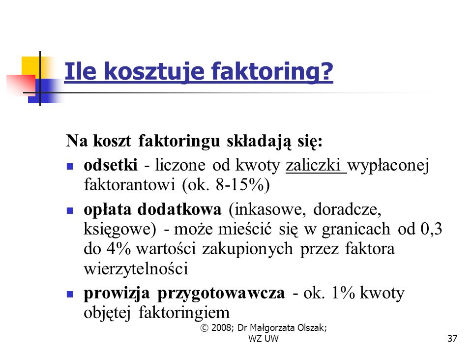 © 2008; Dr Małgorzata Olszak; WZ UW37 Ile kosztuje faktoring.
