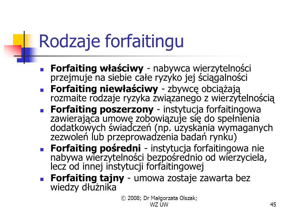 © 2008; Dr Małgorzata Olszak; WZ UW45 Rodzaje forfaitingu Forfaiting właściwy - nabywca wierzytelności przejmuje na siebie całe ryzyko jej ściągalności Forfaiting niewłaściwy - zbywcę obciążają rozmaite rodzaje ryzyka związanego z wierzytelnością Forfaiting poszerzony - instytucja forfaitingowa zawierająca umowę zobowiązuje się do spełnienia dodatkowych świadczeń (np.