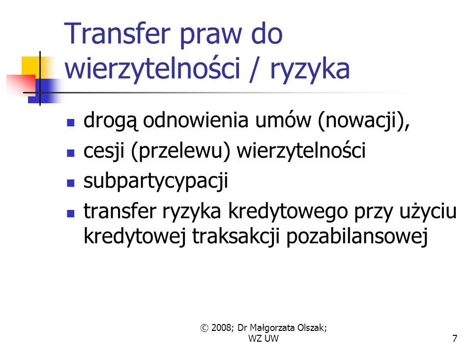 7 Transfer praw do wierzytelności / ryzyka drogą odnowienia umów (nowacji), cesji (przelewu) wierzytelności subpartycypacji transfer ryzyka kredytowego przy użyciu kredytowej traksakcji pozabilansowej