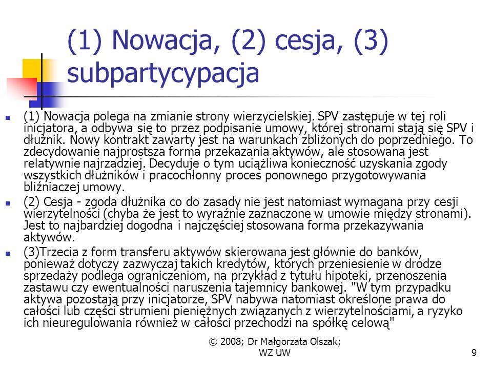 © 2008; Dr Małgorzata Olszak; WZ UW9 (1) Nowacja, (2) cesja, (3) subpartycypacja (1) Nowacja polega na zmianie strony wierzycielskiej.