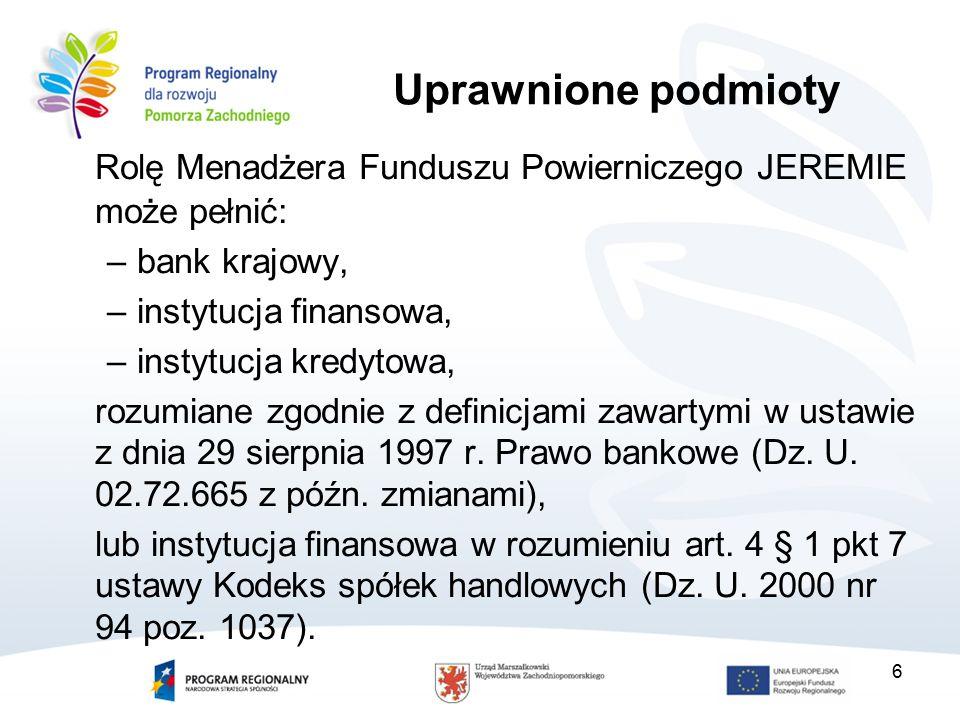 27 Kwalifikowalne koszty zarządzania – katalog (2) Koszty prowadzenia Rachunku Bankowego JEREMIE; Koszty publikacji ogłoszeń związanych z przeprowadzeniem konkursu na Pośredników Finansowych; Koszty tłumaczeń niezbędnych do realizacji zadań; Koszty windykacji kwot pobranych przez ostatecznych odbiorców wsparcia nienależnie lub w nadmiernej wysokości wynikającej z umów z Pośrednikami Finansowymi (w tym koszty postępowań sądowych mających na celu odzyskanie kwot pobranych przez Pośredników Finansowych nienależnie lub w nadmiernej wysokości); Koszty wynagrodzenia wraz ze składkami na ubezpieczenia społeczne i fundusze pozaubezpieczeniowe płacone przez pracodawcę oraz regulaminowe nagrody pracowników zatrudnionych do obsługi Funduszu Powierniczego realizujących zadania wynikające z wdrażania Inicjatywy JEREMIE w RPO WZ wraz z kosztami delegacji służbowych tych pracowników obejmującymi min.: przejazdy i zakwaterowanie;