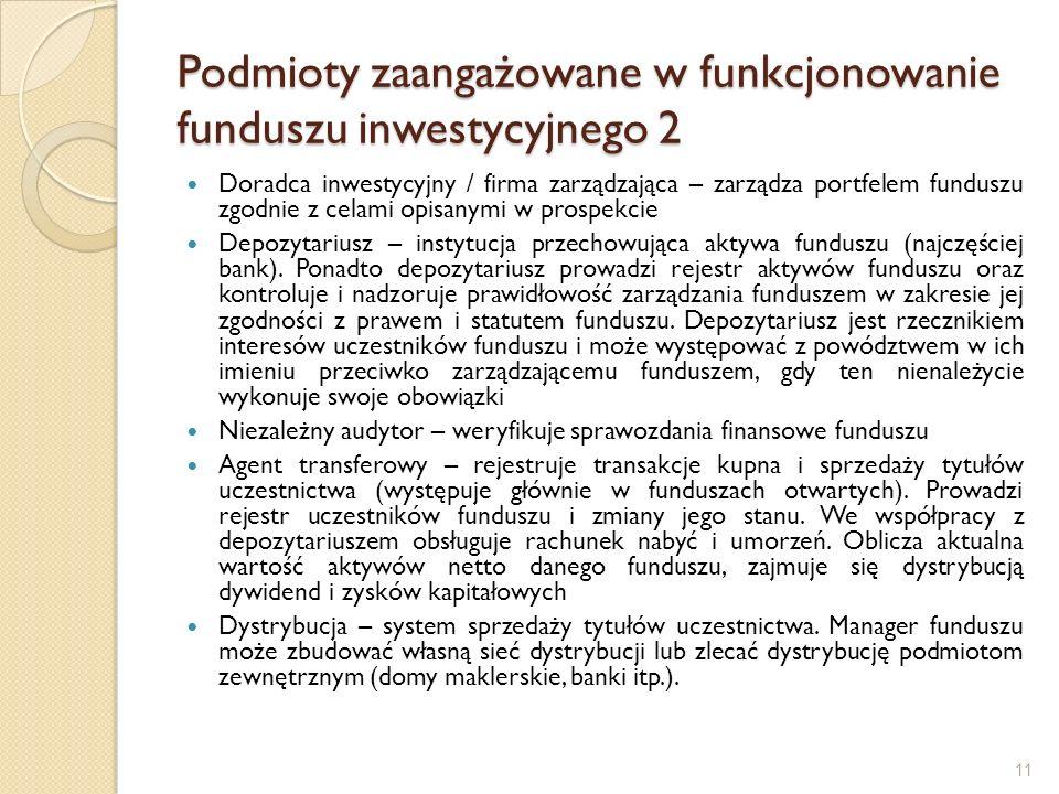 Podmioty zaangażowane w funkcjonowanie funduszu inwestycyjnego 2 Doradca inwestycyjny / firma zarządzająca – zarządza portfelem funduszu zgodnie z cel