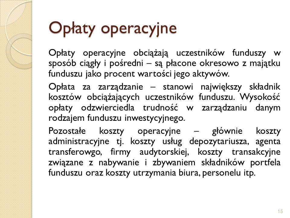 Opłaty operacyjne Opłaty operacyjne obciążają uczestników funduszy w sposób ciągły i pośredni – są płacone okresowo z majątku funduszu jako procent wa