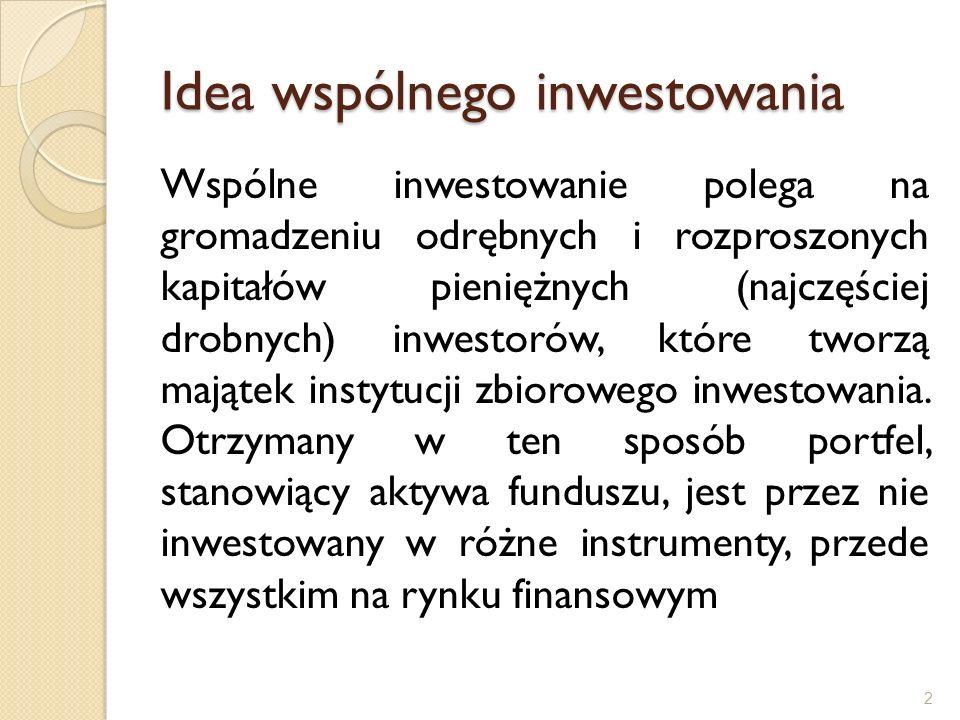 Idea wspólnego inwestowania Wspólne inwestowanie polega na gromadzeniu odrębnych i rozproszonych kapitałów pieniężnych (najczęściej drobnych) inwestor