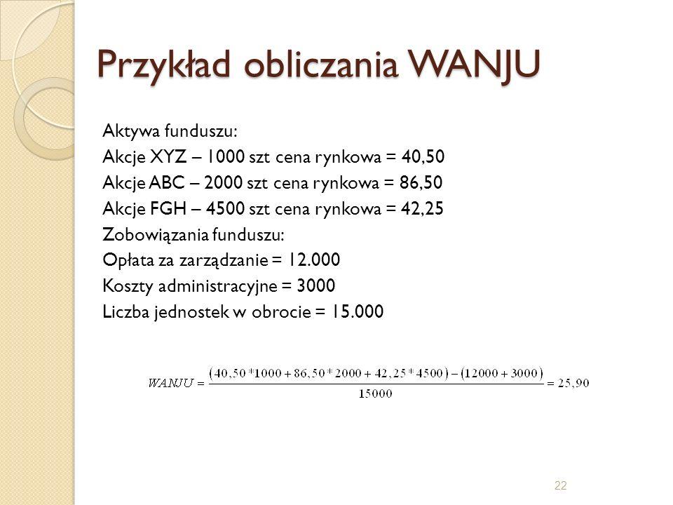 Przykład obliczania WANJU Aktywa funduszu: Akcje XYZ – 1000 szt cena rynkowa = 40,50 Akcje ABC – 2000 szt cena rynkowa = 86,50 Akcje FGH – 4500 szt ce