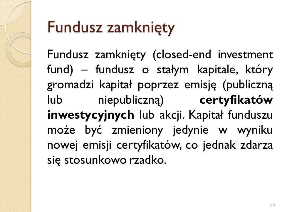 Fundusz zamknięty Fundusz zamknięty (closed-end investment fund) – fundusz o stałym kapitale, który gromadzi kapitał poprzez emisję (publiczną lub nie