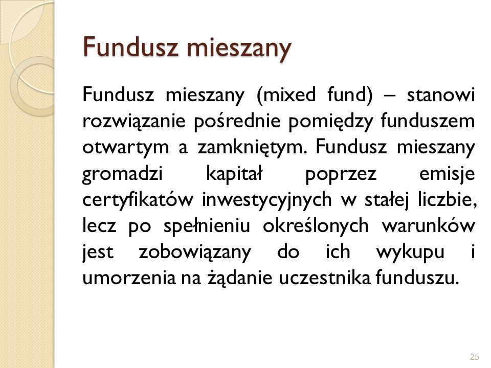Fundusz mieszany Fundusz mieszany (mixed fund) – stanowi rozwiązanie pośrednie pomiędzy funduszem otwartym a zamkniętym. Fundusz mieszany gromadzi kap