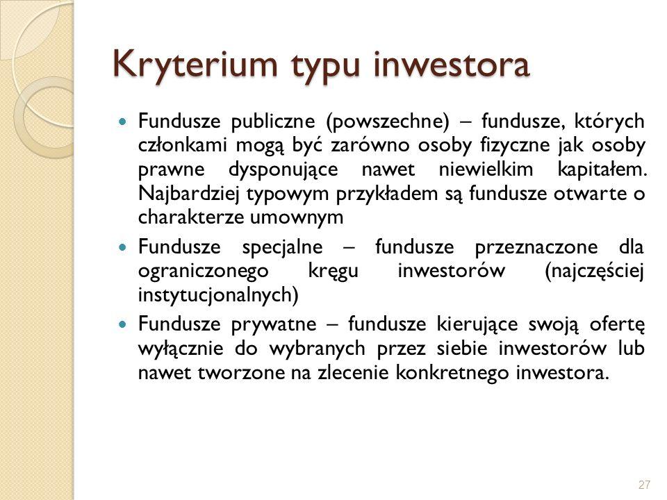 Kryterium typu inwestora Fundusze publiczne (powszechne) – fundusze, których członkami mogą być zarówno osoby fizyczne jak osoby prawne dysponujące na