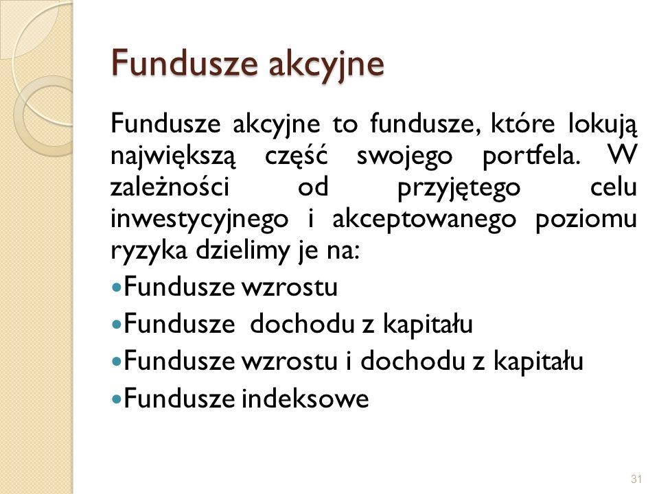 Fundusze akcyjne Fundusze akcyjne to fundusze, które lokują największą część swojego portfela. W zależności od przyjętego celu inwestycyjnego i akcept