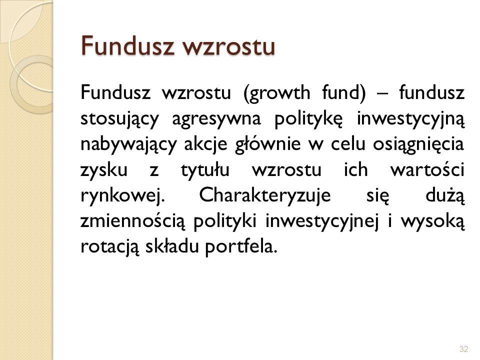 Fundusz wzrostu Fundusz wzrostu (growth fund) – fundusz stosujący agresywna politykę inwestycyjną nabywający akcje głównie w celu osiągnięcia zysku z