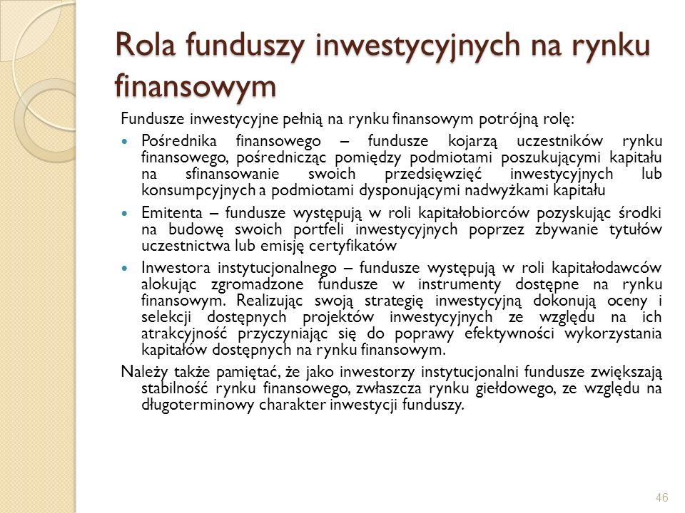 Rola funduszy inwestycyjnych na rynku finansowym Fundusze inwestycyjne pełnią na rynku finansowym potrójną rolę: Pośrednika finansowego – fundusze koj