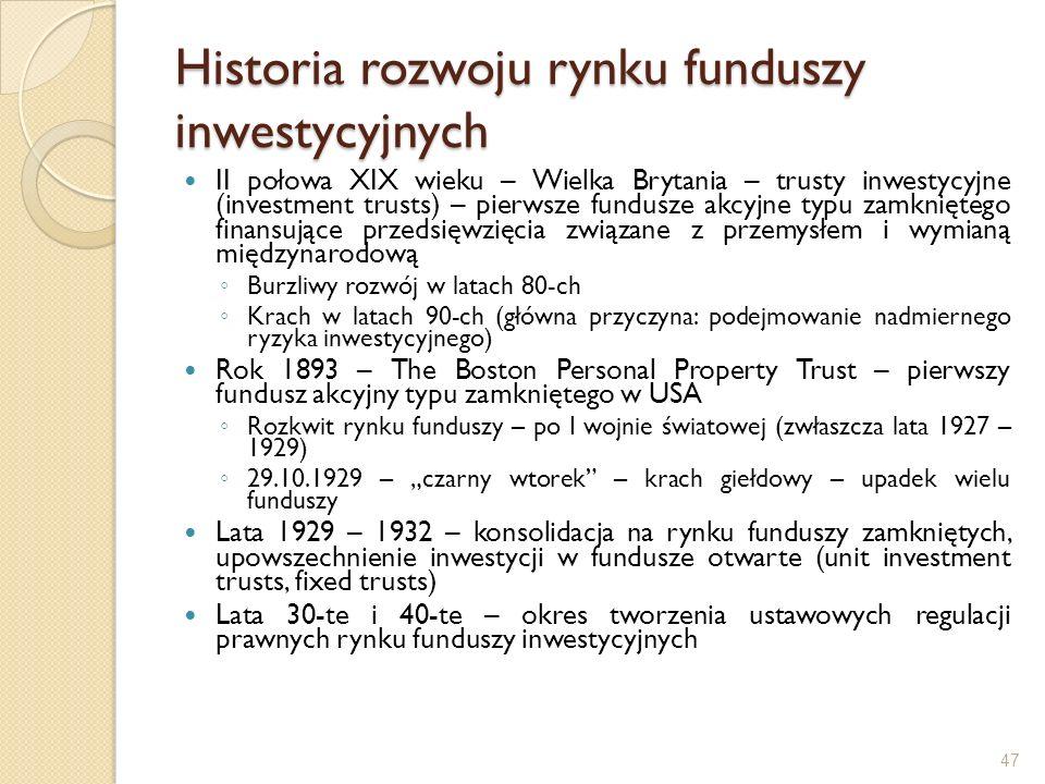 Historia rozwoju rynku funduszy inwestycyjnych II połowa XIX wieku – Wielka Brytania – trusty inwestycyjne (investment trusts) – pierwsze fundusze akc
