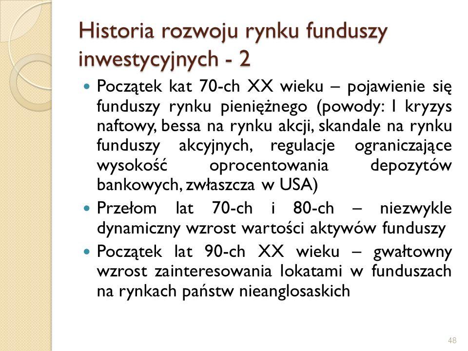 Historia rozwoju rynku funduszy inwestycyjnych - 2 Początek kat 70-ch XX wieku – pojawienie się funduszy rynku pieniężnego (powody: I kryzys naftowy,