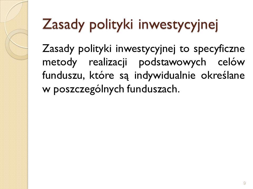 Zasady polityki inwestycyjnej Zasady polityki inwestycyjnej to specyficzne metody realizacji podstawowych celów funduszu, które są indywidualnie okreś