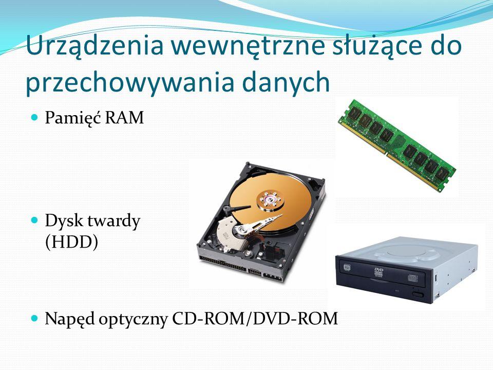 Urządzenia wewnętrzne służące do przechowywania danych Pamięć RAM Dysk twardy (HDD) Napęd optyczny CD-ROM/DVD-ROM