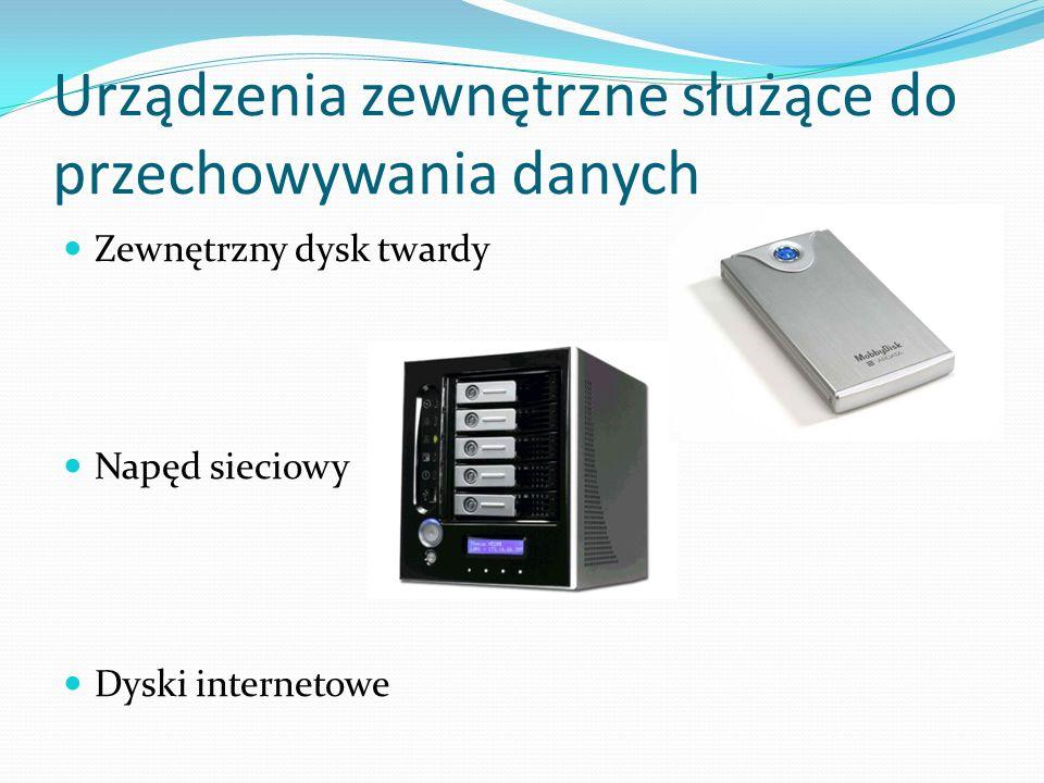Urządzenia zewnętrzne służące do przechowywania danych Zewnętrzny dysk twardy Napęd sieciowy Dyski internetowe