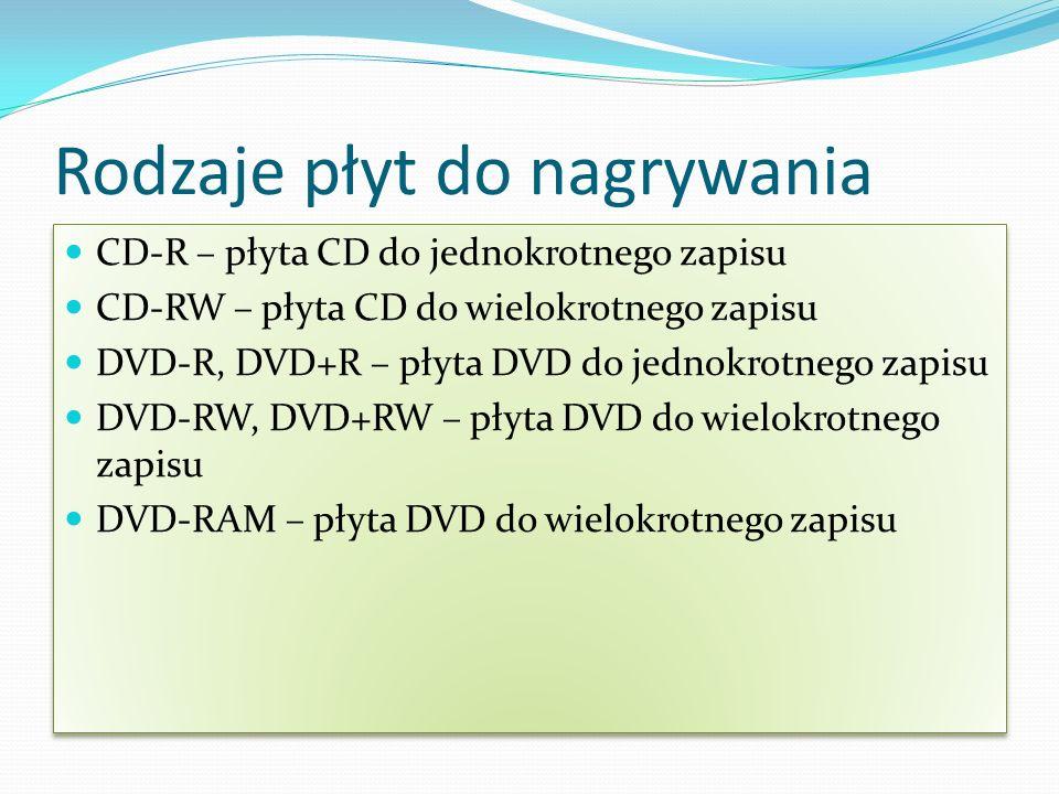 Rodzaje płyt do nagrywania CD-R – płyta CD do jednokrotnego zapisu CD-RW – płyta CD do wielokrotnego zapisu DVD-R, DVD+R – płyta DVD do jednokrotnego zapisu DVD-RW, DVD+RW – płyta DVD do wielokrotnego zapisu DVD-RAM – płyta DVD do wielokrotnego zapisu CD-R – płyta CD do jednokrotnego zapisu CD-RW – płyta CD do wielokrotnego zapisu DVD-R, DVD+R – płyta DVD do jednokrotnego zapisu DVD-RW, DVD+RW – płyta DVD do wielokrotnego zapisu DVD-RAM – płyta DVD do wielokrotnego zapisu