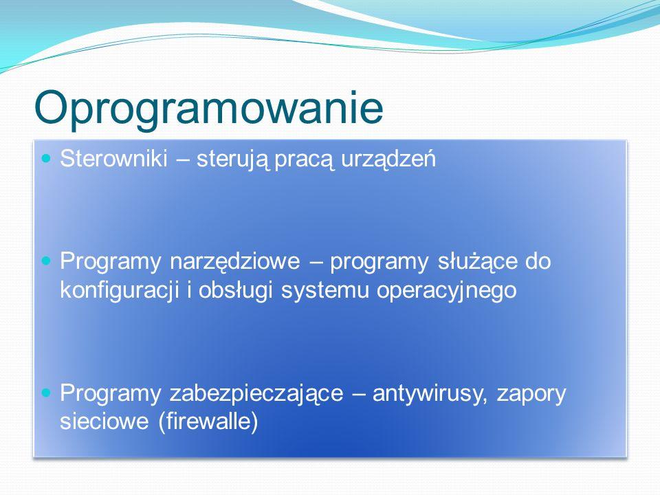 Oprogramowanie Sterowniki – sterują pracą urządzeń Programy narzędziowe – programy służące do konfiguracji i obsługi systemu operacyjnego Programy zabezpieczające – antywirusy, zapory sieciowe (firewalle) Sterowniki – sterują pracą urządzeń Programy narzędziowe – programy służące do konfiguracji i obsługi systemu operacyjnego Programy zabezpieczające – antywirusy, zapory sieciowe (firewalle)