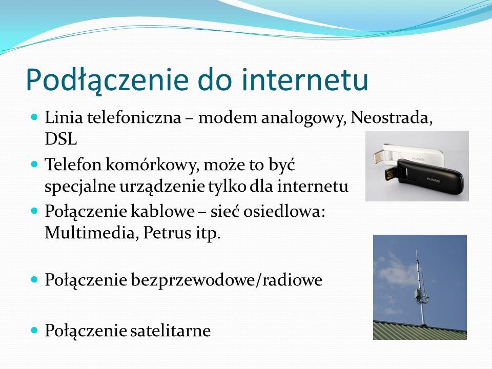 Podłączenie do internetu Linia telefoniczna – modem analogowy, Neostrada, DSL Telefon komórkowy, może to być specjalne urządzenie tylko dla internetu