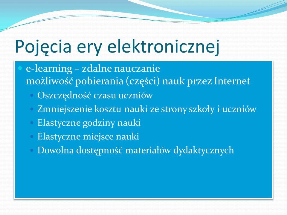 Pojęcia ery elektronicznej e-learning – zdalne nauczanie możliwość pobierania (części) nauk przez Internet Oszczędność czasu uczniów Zmniejszenie kosz