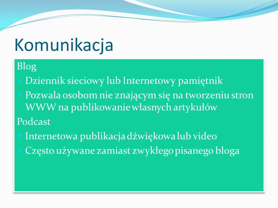 Komunikacja Blog Dziennik sieciowy lub Internetowy pamiętnik Pozwala osobom nie znającym się na tworzeniu stron WWW na publikowanie własnych artykułów
