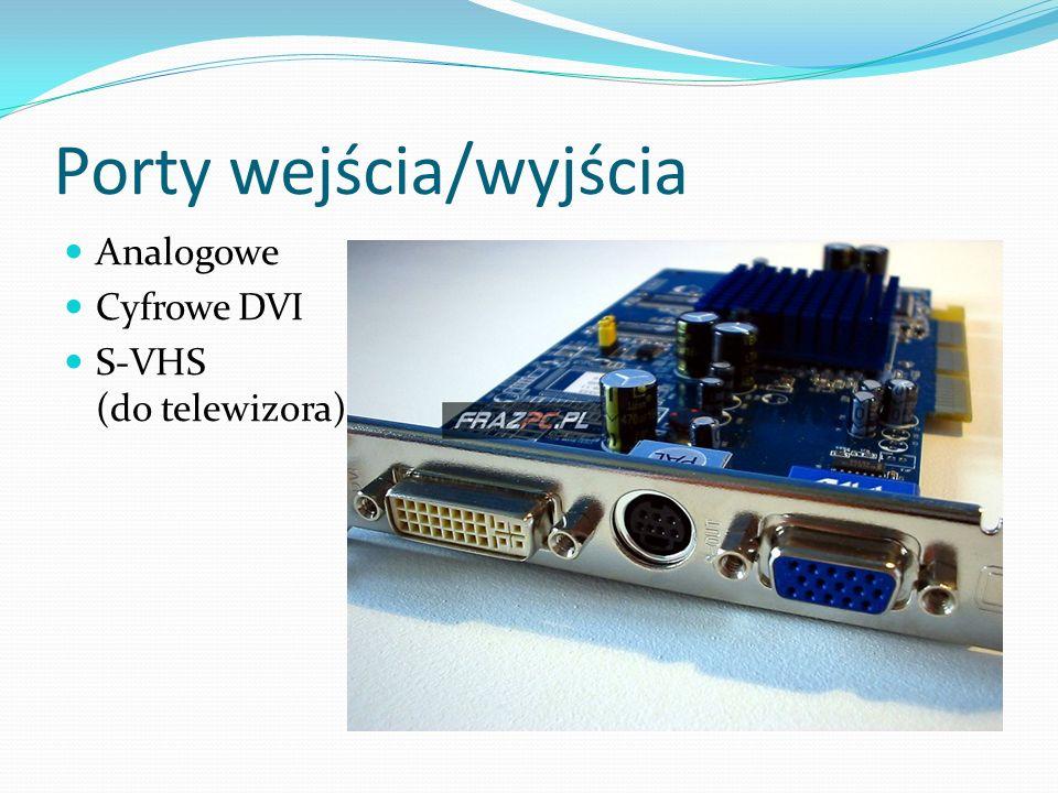 Porty wejścia/wyjścia Analogowe Cyfrowe DVI S-VHS (do telewizora)