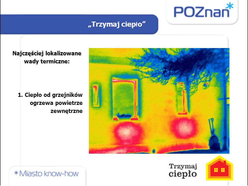 Najczęściej lokalizowane wady termiczne: 1. Ciepło od grzejników ogrzewa powietrze zewnętrzne