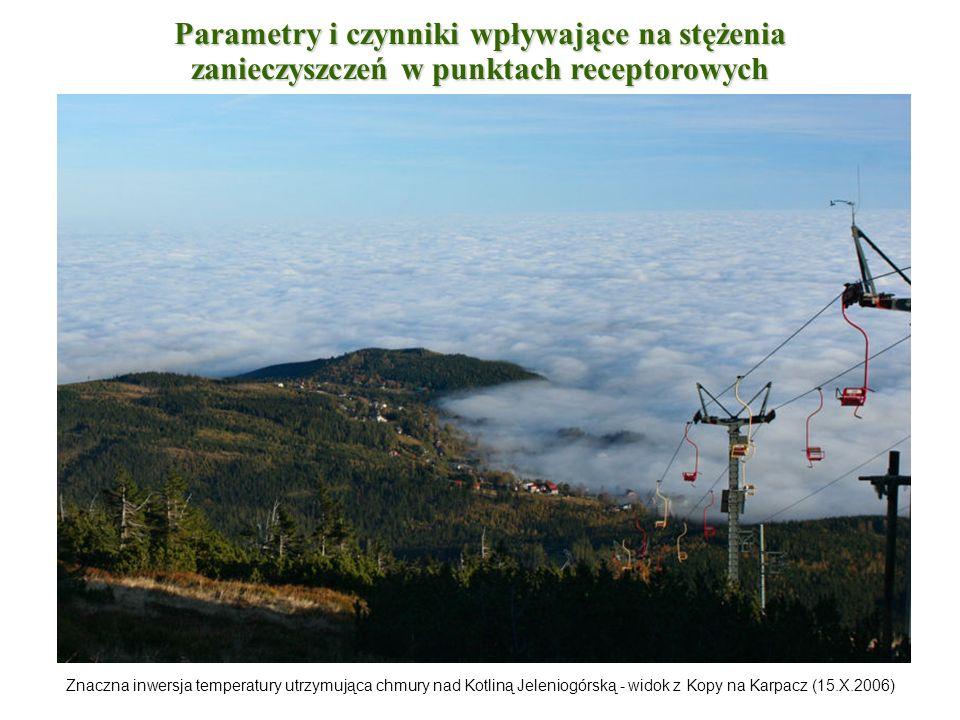 Znaczna inwersja temperatury utrzymująca chmury nad Kotliną Jeleniogórską - widok z Kopy na Karpacz (15.X.2006) Parametry i czynniki wpływające na stę