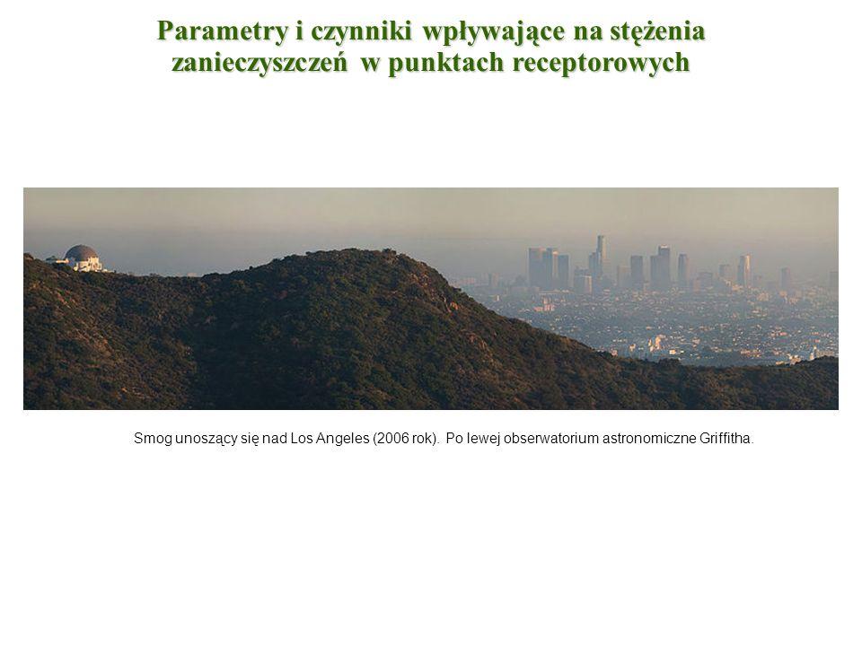 Smog unoszący się nad Los Angeles (2006 rok). Po lewej obserwatorium astronomiczne Griffitha. Parametry i czynniki wpływające na stężenia zanieczyszcz